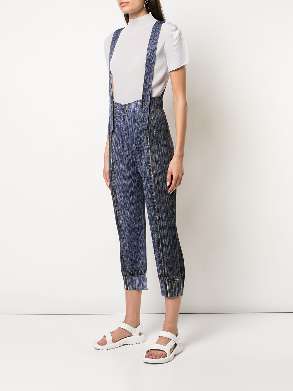 PLEATS PLEASE WOMEN TWO TONE DENIM JUMPSUIT