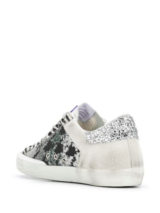 GOLDEN GOOSE WOMEN LEATHER TOE PIED DE POULE AND SUEDE QUARTER LEATHER STAR GLITTER HEEL SNEAKERS