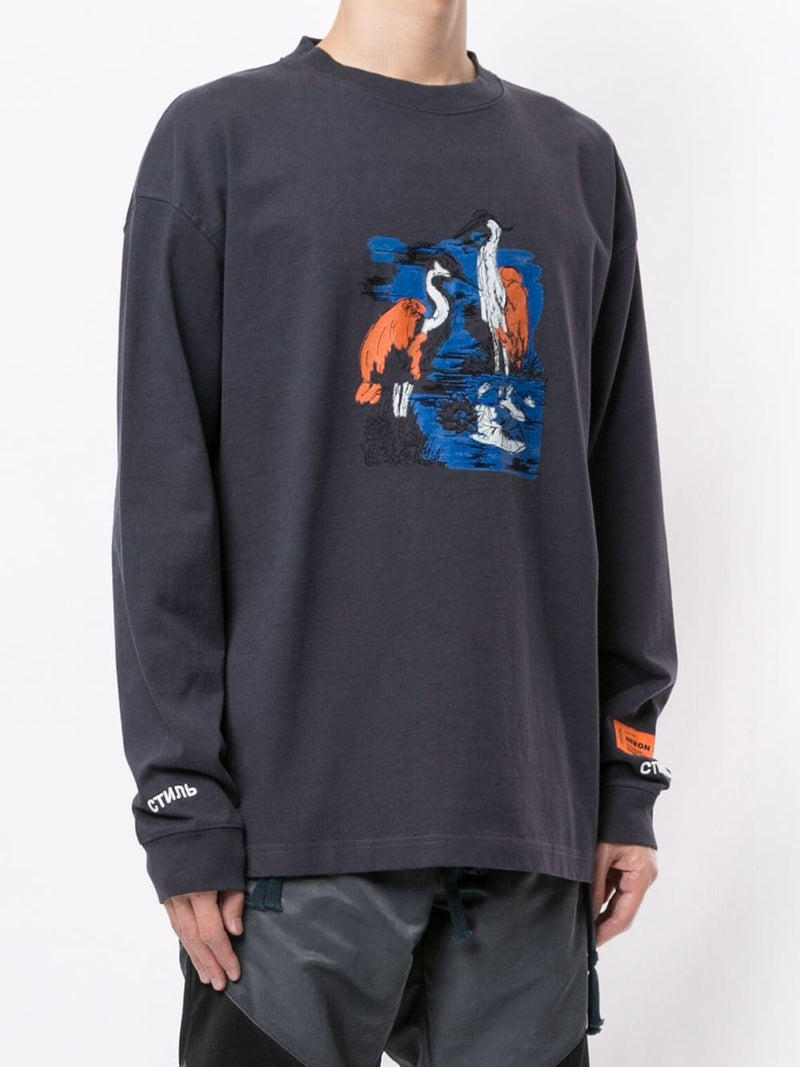 HERON PRESTON MEN LS T-SHIRT REG EMB HERONS