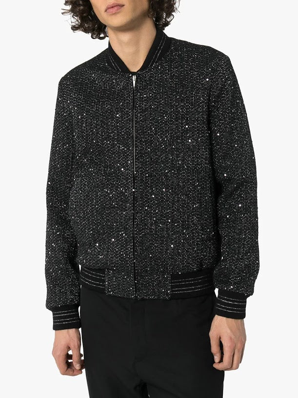SAINT LAURENT MENS TEDDY TWEED TWEED PAILLETTE JACKET