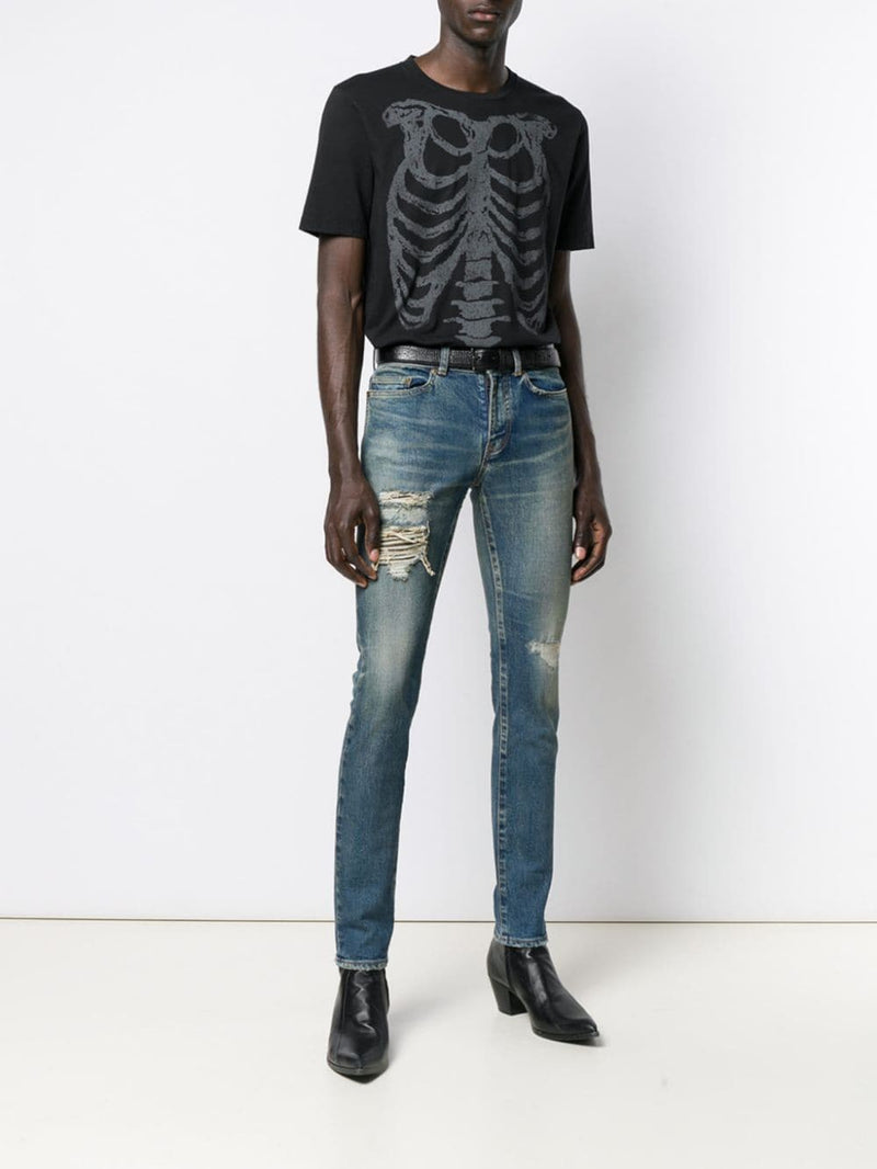SAINT LAURENT MEN SKINNY LOW WAIST REPAIRED JEANS