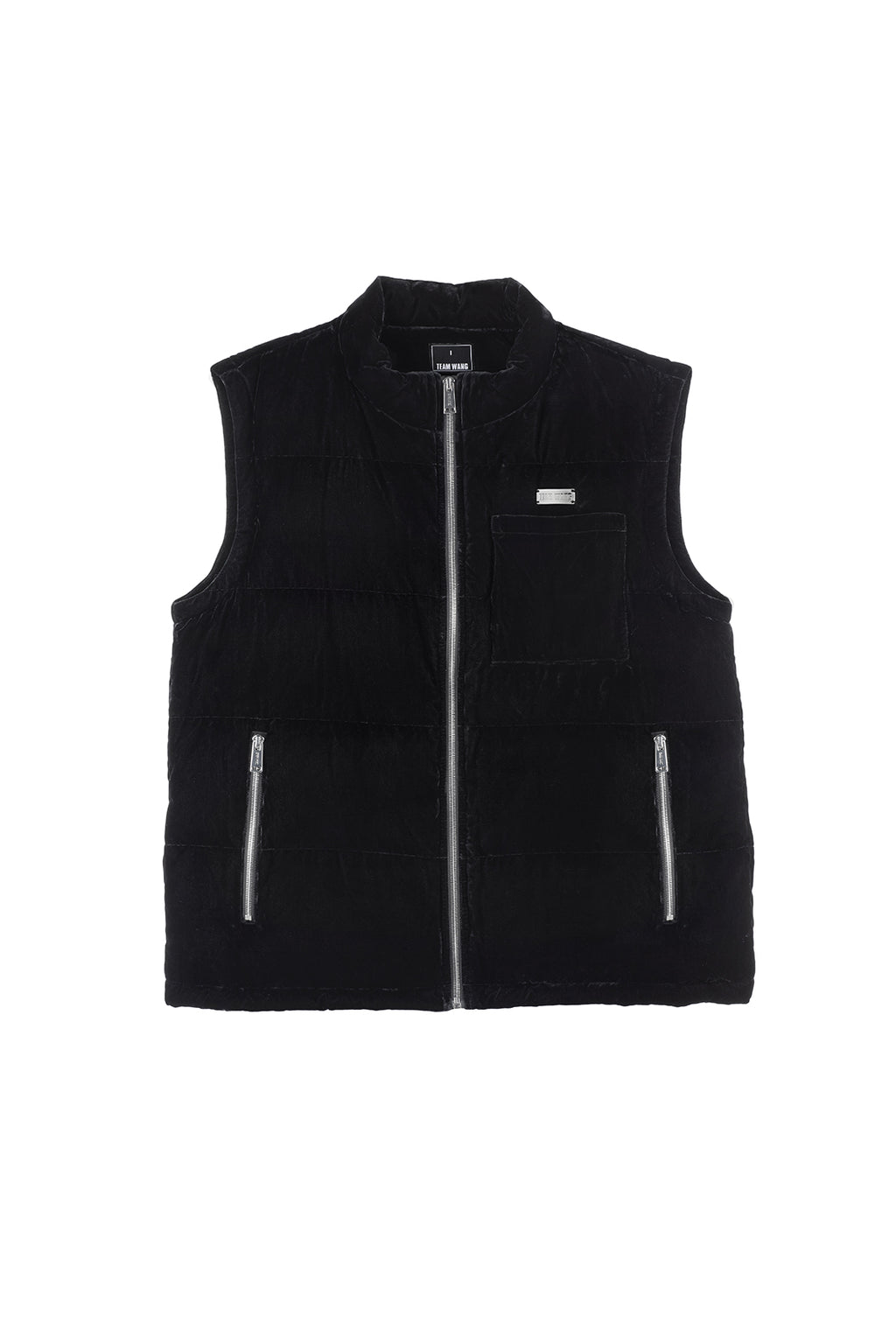 TEAM WANG PRINTED LOGO VELVET DOWN VEST