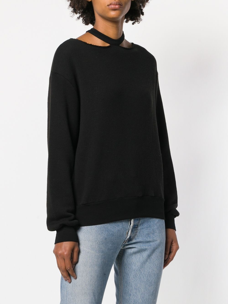 UNRAVEL WOMEN CASHEMERE BLEND CUT OUT CREWNECK