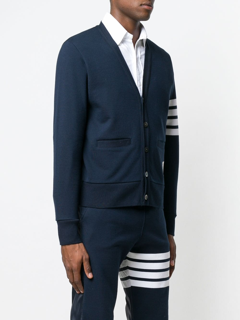 THOM BROWNE MEN V NECK CARDIGAN IN CLASSIC LOOP BACK W/ ENGINEERED 4 BAR