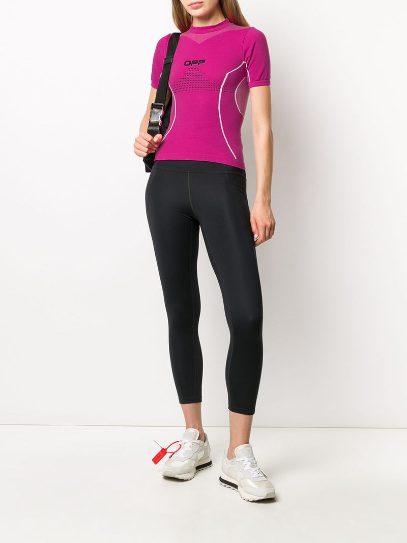 OFF-WHITE WOMEN ACTIVE SHORT SLEEVE TOP FUCHSIA BLACK