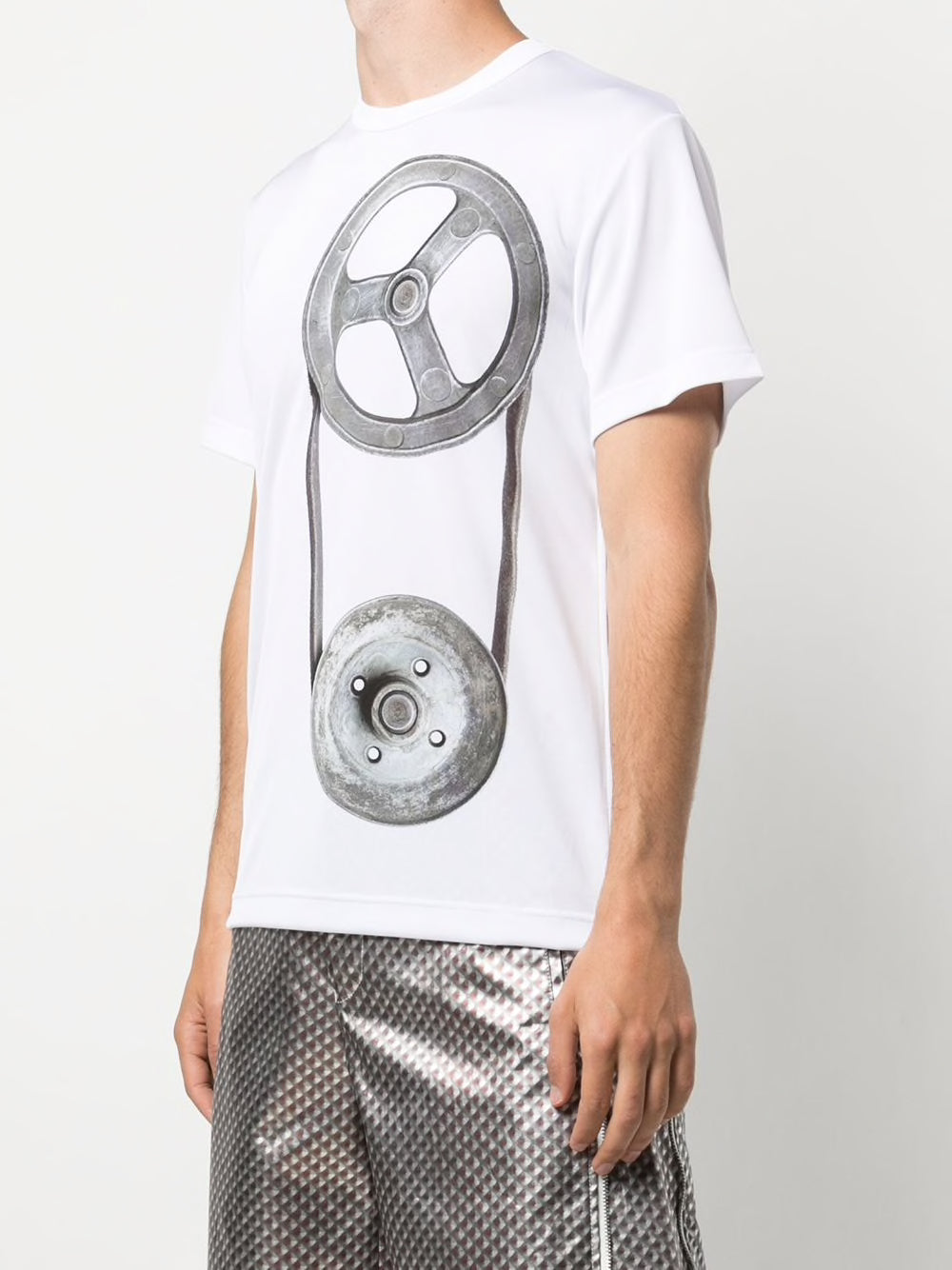 COMME DES GARCONS HOMME PLUS MEN ZIPPER DETAIL PRINTED T-SHIRT
