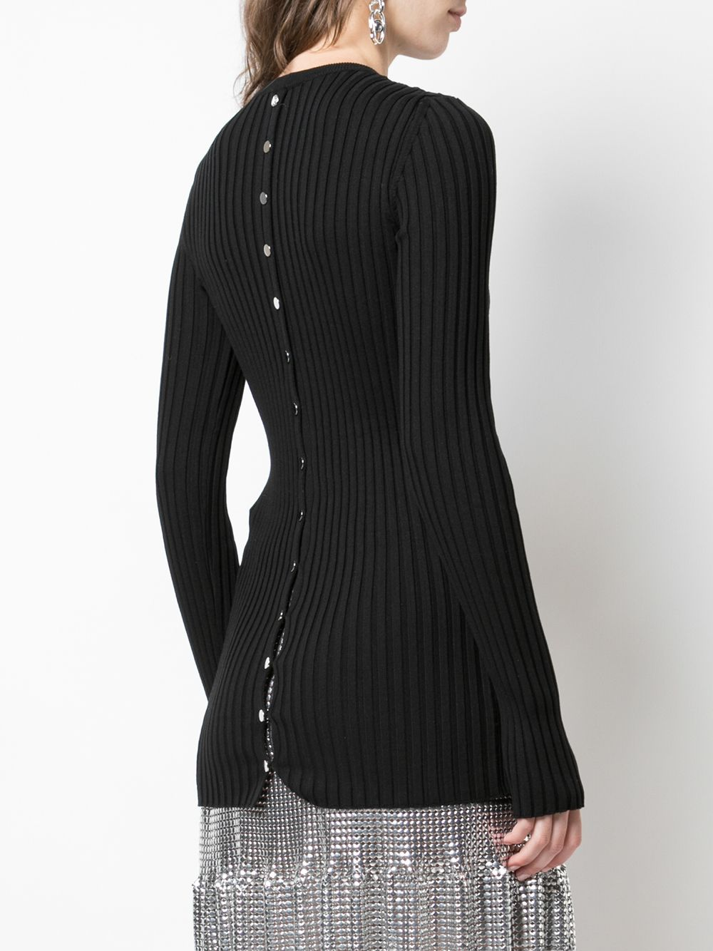 PACO RABANNE BUTTON BACK KNIT TOP