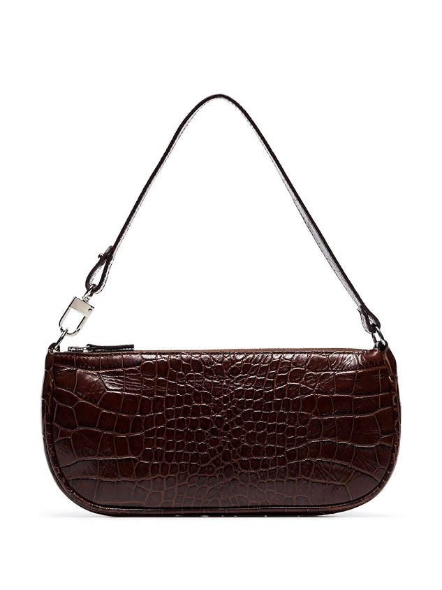 BY FAR WOMEN RACHEL CROCO EMBOSSED LEATHER SHOULDER BAG