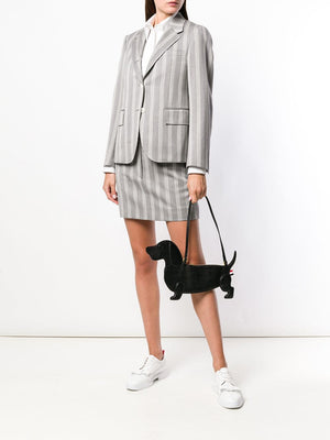 THOM BROWNE WOMEN HECTOR FLAT ICON CLUTCH W/ STRAP IN PEBBLE GRAIN
