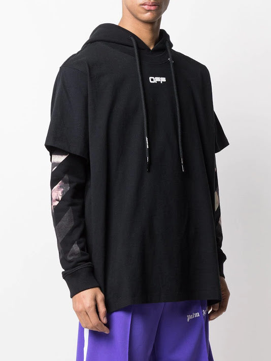 OFF-WHITE MEN CARAVAG ARROW DOUBLE TEE HOOD