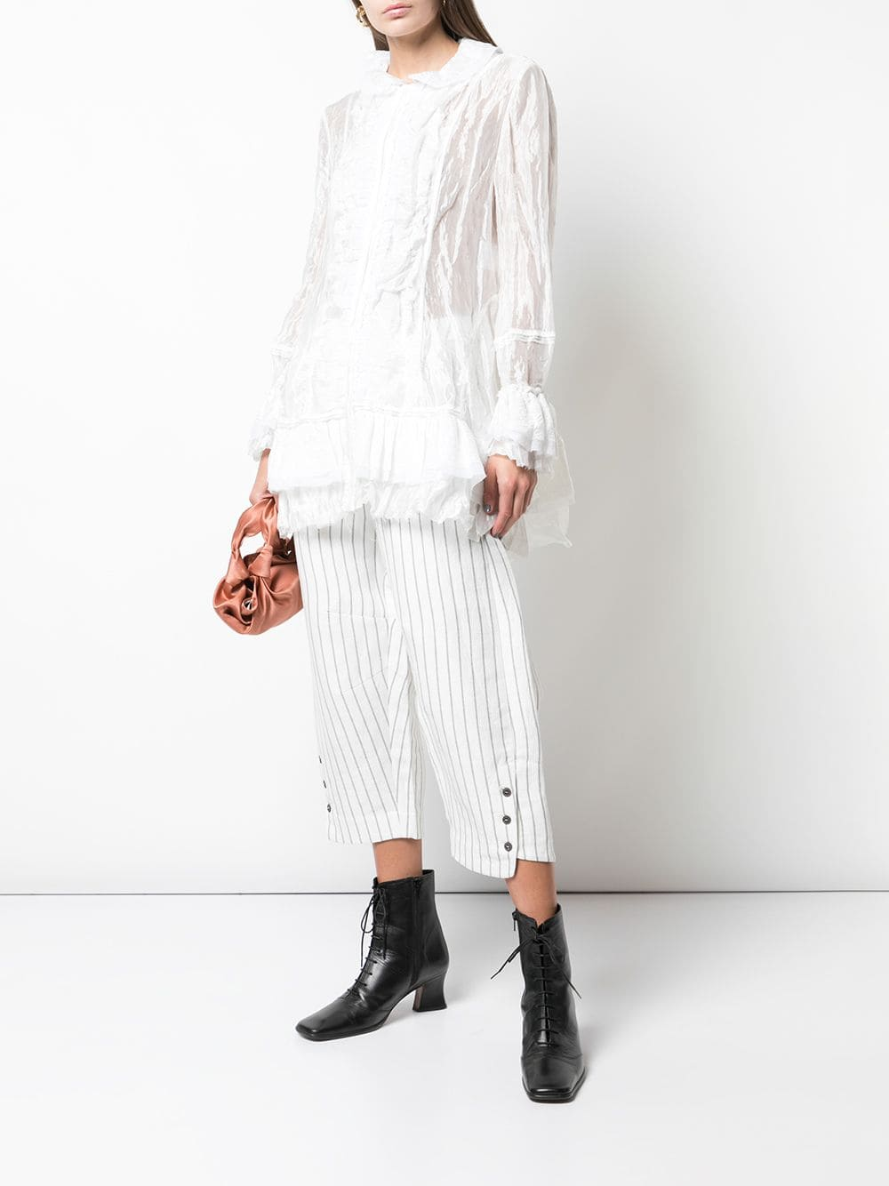 Renli Su Women Long Shirt With Rounded Layered Collar