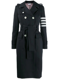 THOM BROWNE WOMEN UNCONSTRUCTED CLASSIC TRENCH IN WATERPROOF COTTON TWILL WITH 4 BAR