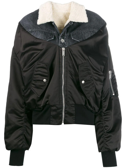 UNRAVEL PROJECT WOMEN SHEARLING NYLON DENIM BOMBER