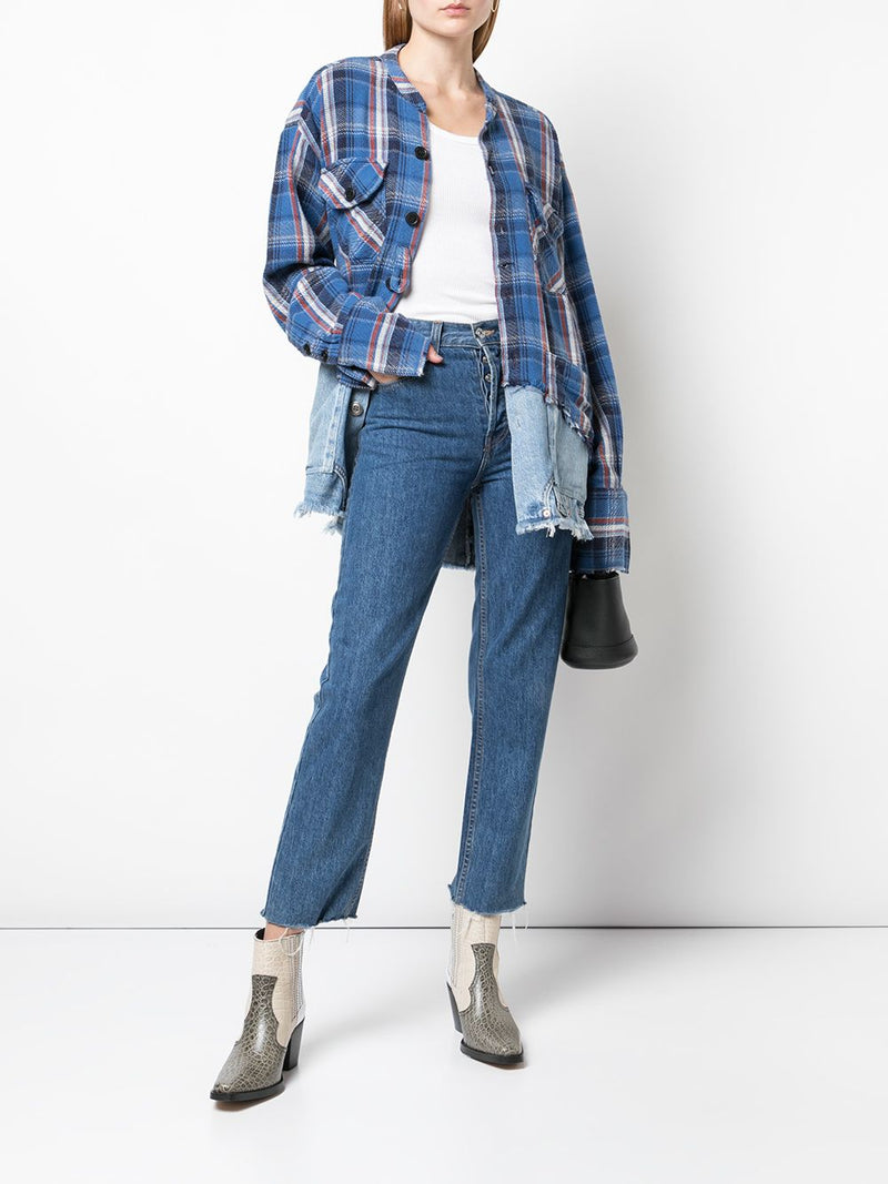 GREG LAUREN WOMEN 50/50 BLUE PLAID/DENIM BOXY STUDIO SHIRT