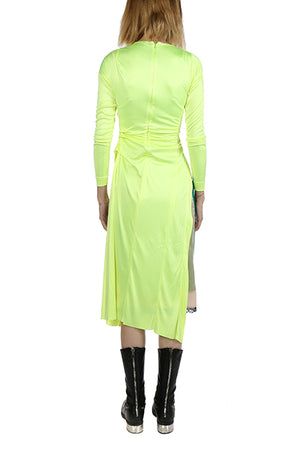 MERYLL ROGGE WOMEN DRAPED DRESS WITH MULTIMATERIAL SKIRT