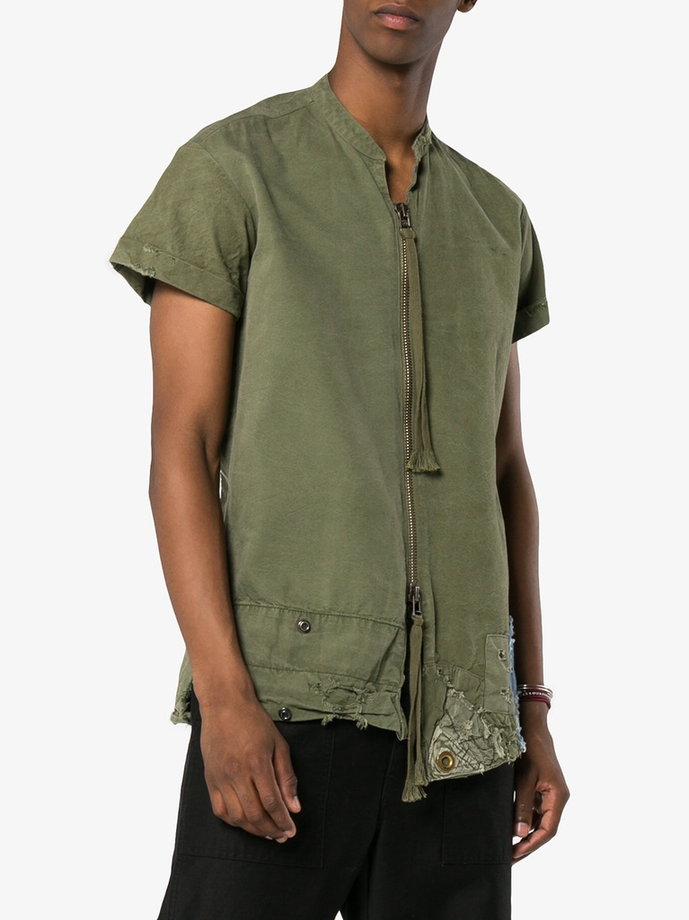 GREG LAUREN MEN ARMYTENT SHORT SLEEVE ZIP FRONT STUDIO SHIRT