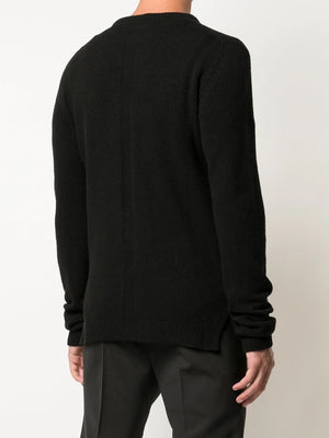 RICK OWENS MEN RECYCLED CASHMERE BIKER ROUND NECK SWEATER