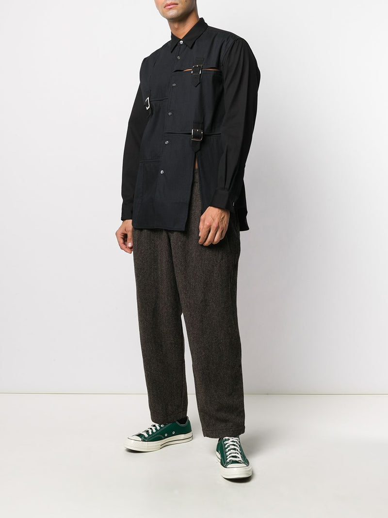 COMME DES GARCONS SHIRT MEN TEXTURED SHIRT WITH BUCKLE DETAILS