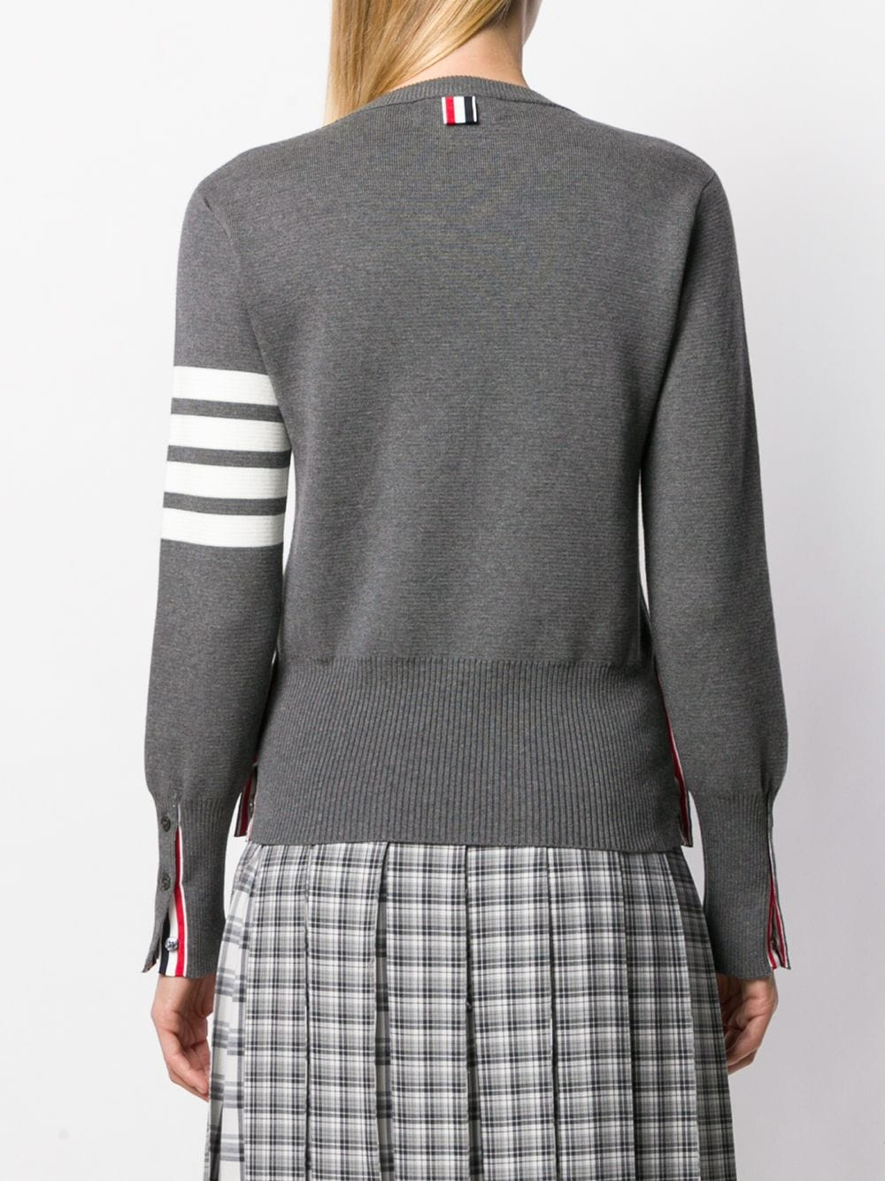 THOM BROWNE WOMEN MILANO STITCH CLASSIC CREW NECK PULLOVER IN COTTON CREPE WITH 4 BAR