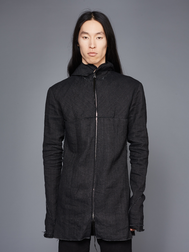 MA+ MEN LONG HOODED ZIPPED JACKET