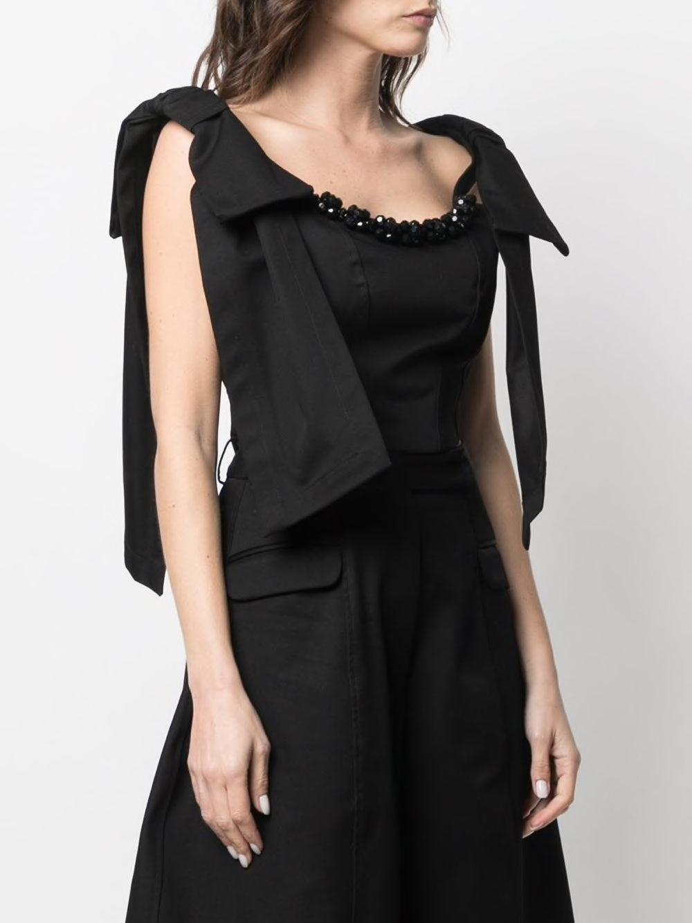SIMONE ROCHA WOMEN EMBELLISHED CORSET TOP WITH SHOULDER BOW