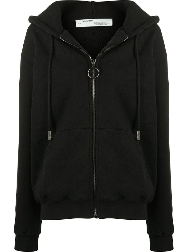 OFF-WHITE WOMEN DIAG OVER HOODIE ZIPPED BLACK BLACK