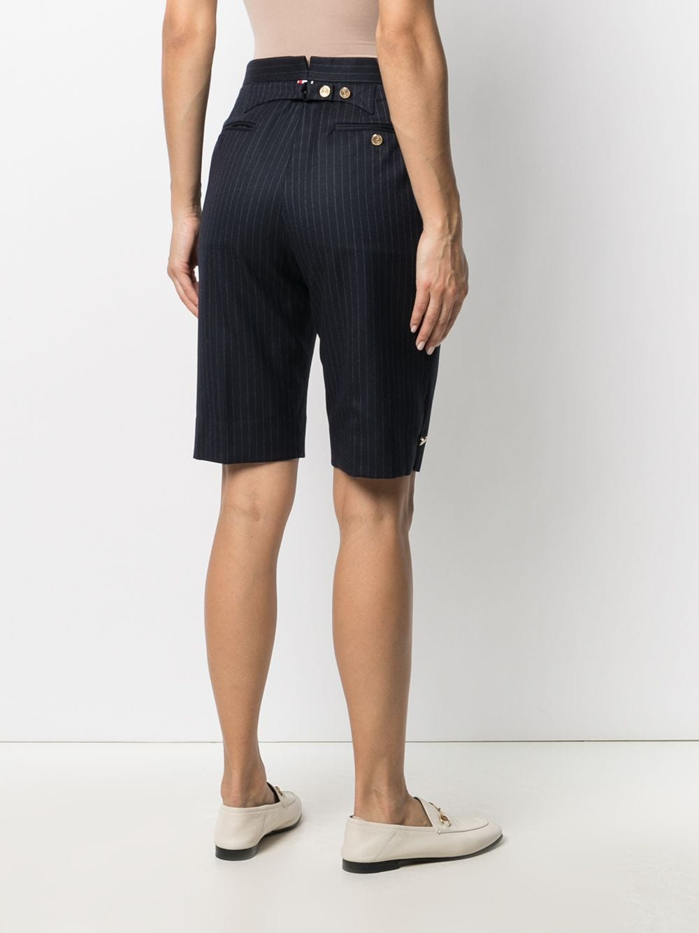 THOM BROWNE WOMEN MENSWEAR FIT BERMUDA SHORT IN NARROW CHALK STRIPE 120'S FLANNEL