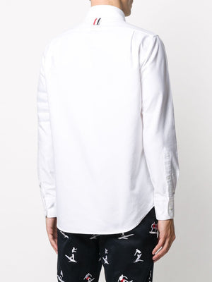THOM BROWNE MEN STRAIGHT FIT BUTTON-DOWN SHIRT W/ SEAMD IN 4 BAR LONG SLEEVE IN OXFORD