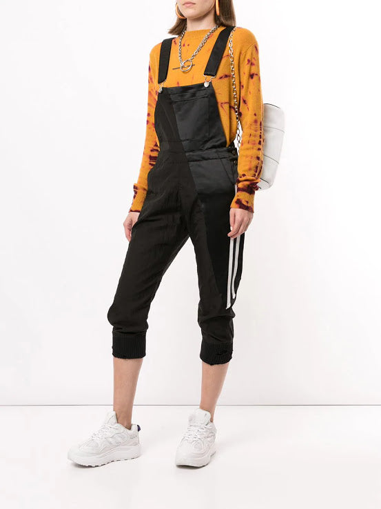 GREG LAUREN WOMEN 50/50 MICRO MESH BLACK SATIN OVERALL