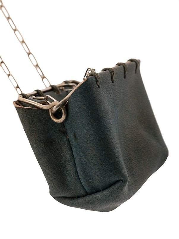 MA+ CALF LEATHER MINI SILVER RIM POUCH NECKLACE