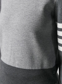 THOM BROWNE WOMEN FUN MIX MILANO STITCH CLASSIC CREW NECK PULLOVER WITH 4 BAR IN FINE MERINO WOOL