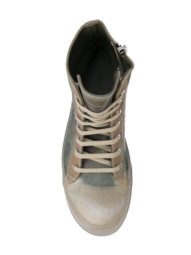 RICK OWENS MEN TRANSPARENT LEATHER NO CAP RAMONE SNEAKERS