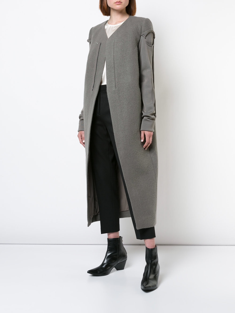 RICK OWENS WOMEN V NECK BIKER COAT