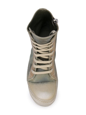 RICK OWENS WOMEN TRANSPARENT LEATHER NO CAP RAMONE SNEAKERS