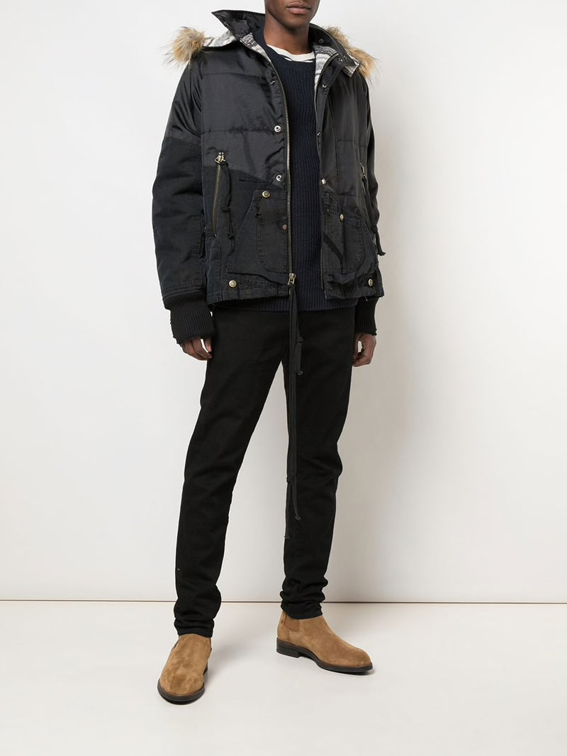 GREG LAUREN MEN BLACK ROYAL RETRO PUFFY JACKET