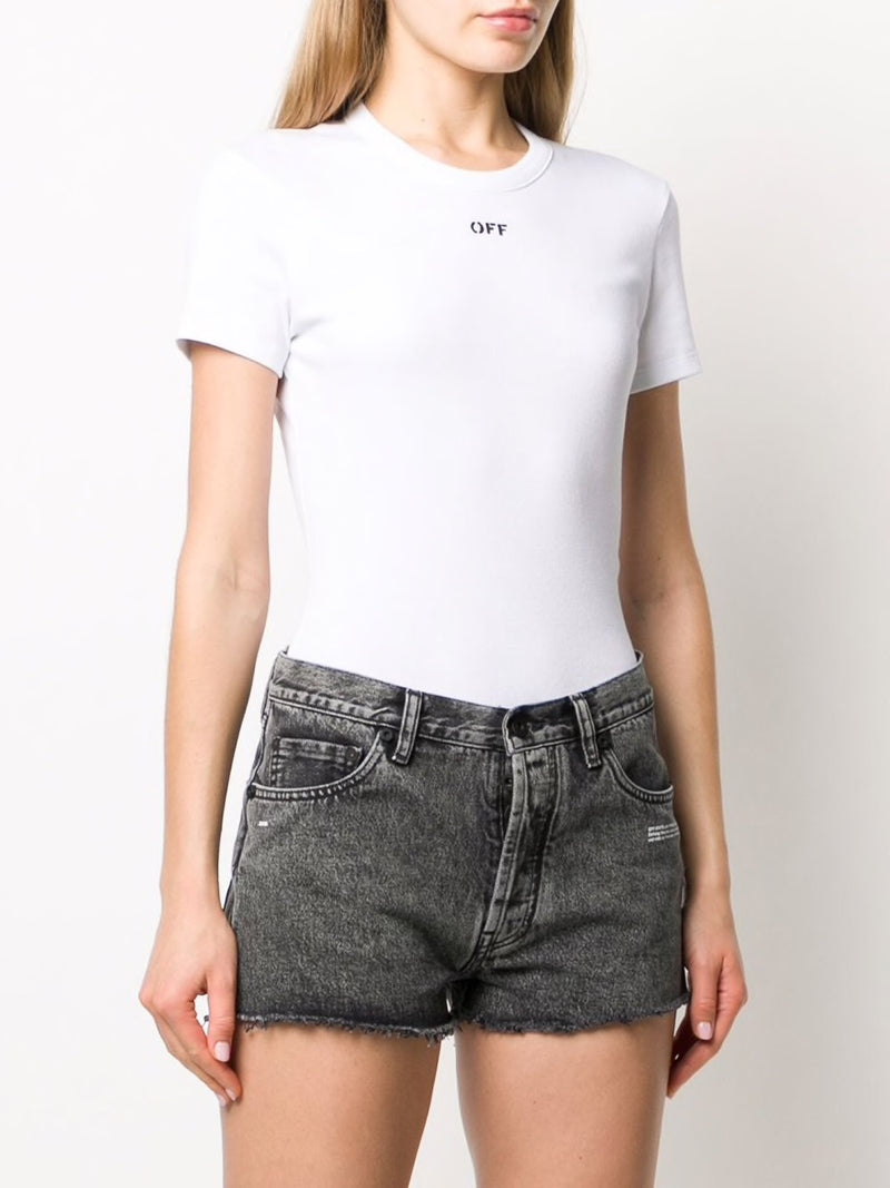 OFF-WHITE WOMEN FITTED TEE WHITE BLACK