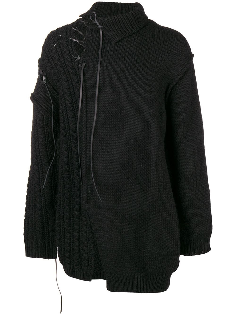 YOHJI YAMAMOTO POUR HOMME LEATHER STRING TURTLE NECK SWEATER