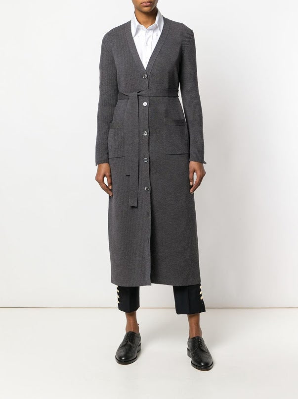 THOM BROWNE WOMEN 1/2 & 1/2 RIB STITCH LONG V NECK CARDIGAN W/ RWB CB STRIPE IN FINE MERINO WOOL