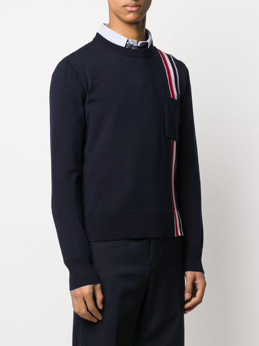 THOM BROWNE MEN JERSEY STITCH RELAXED FIT CREW NECK PULLOVER WITH RWB INTARSIA STRIPE IN FINE MERINO WOOL