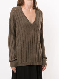 UMA WANG WOMEN LONG SLV KNIT V TOP