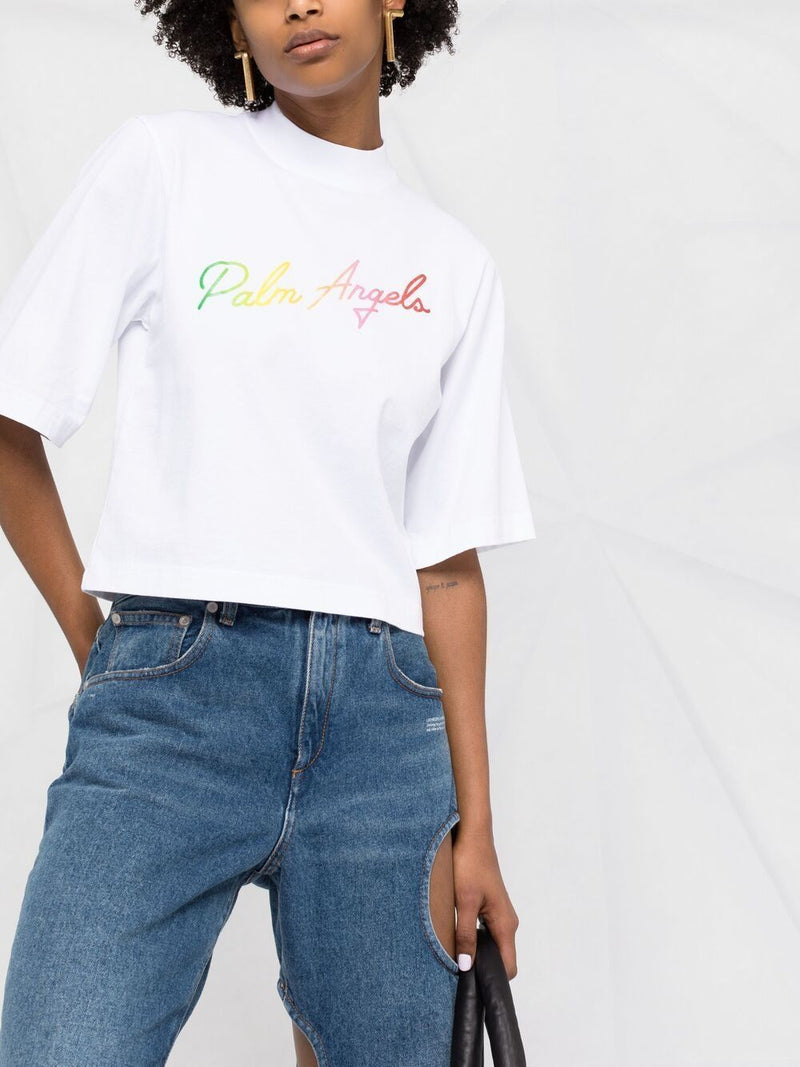 PALM ANGELS WOMEN MIAMI LOGO CROPPED TEE
