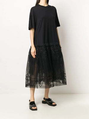 SIMONE ROCHA WOMEN TUTU TSHIRT DRESS WITH EMBROIDERED OVERLAY