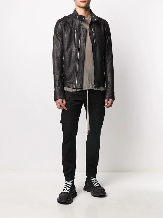RICK OWENS MEN FITTED IES LEATHER JACKET