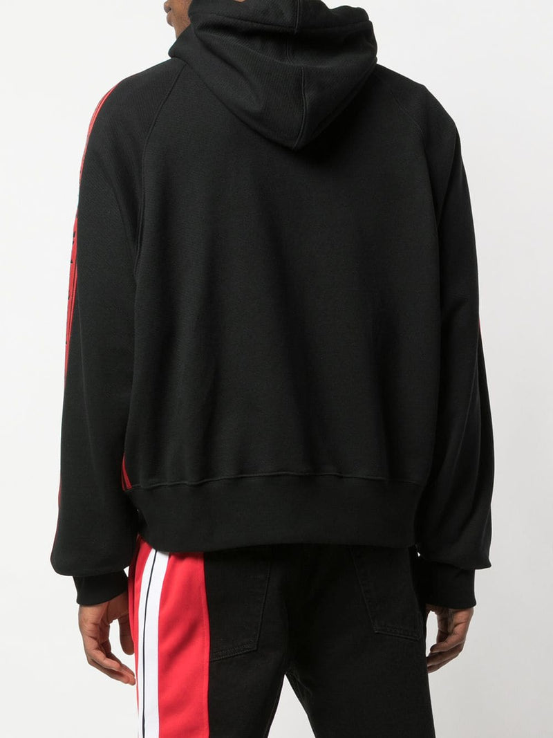 PALM ANGELS MEN SIDE TAPE CROPPED HOODIE