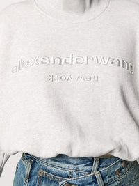 ALEXANDER WANG WOMEN CROPPED MOCKNECK SWEATSHIRT WITH EMBROIDERY