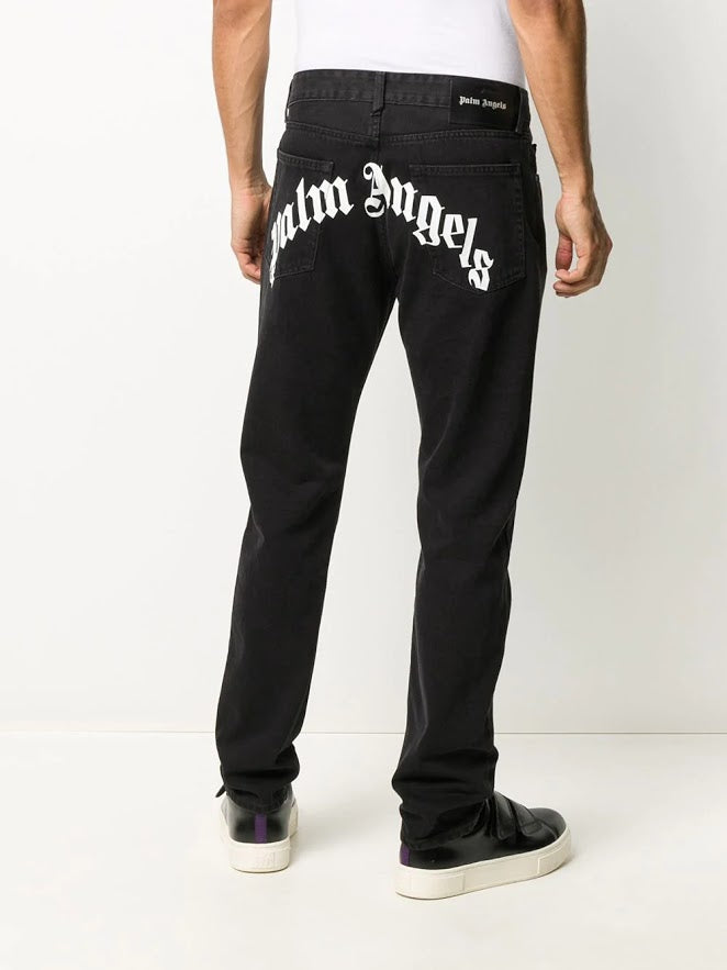 PALM ANGELS MEN BACK LOGO 5 POCKETS JEANS