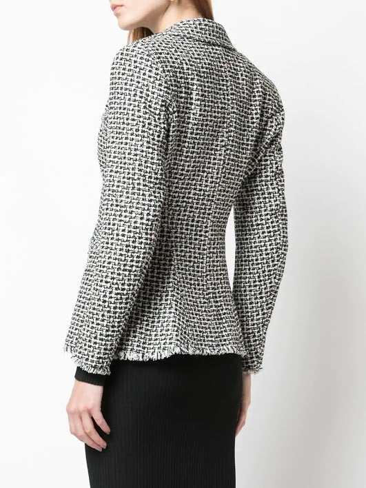 ALEXANDER WANG WOMEN TWEED MOTO ZIP JACKET WITH BALL CHAIN