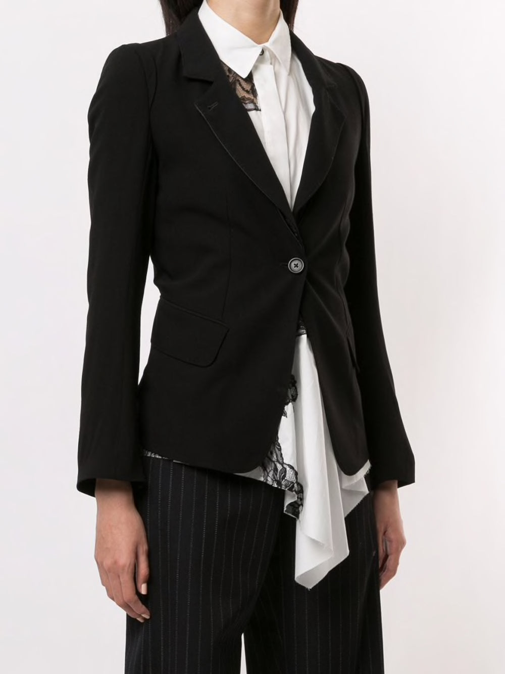 ANN DEMEULEMEESTER WOMEN WOOL + DUCHESSE TAILORED JACKET