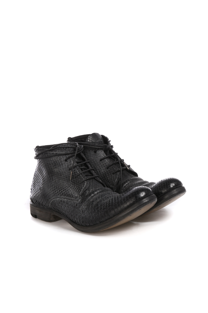LAYER-0 MEN PYTHON LEATHER ANKLE BOOTS
