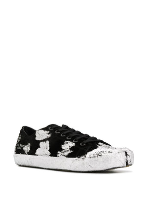 MAISON MARGIELA MEN SILVER PAINTED LOW TOP TABI SNEAKERS